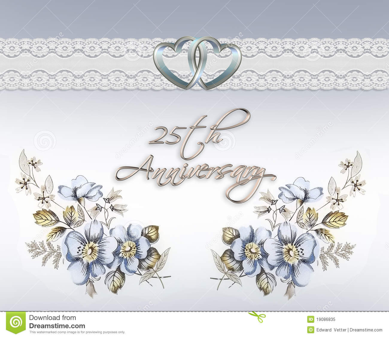 25th Wedding Anniversary Stock Illustration Illustration Of Digital