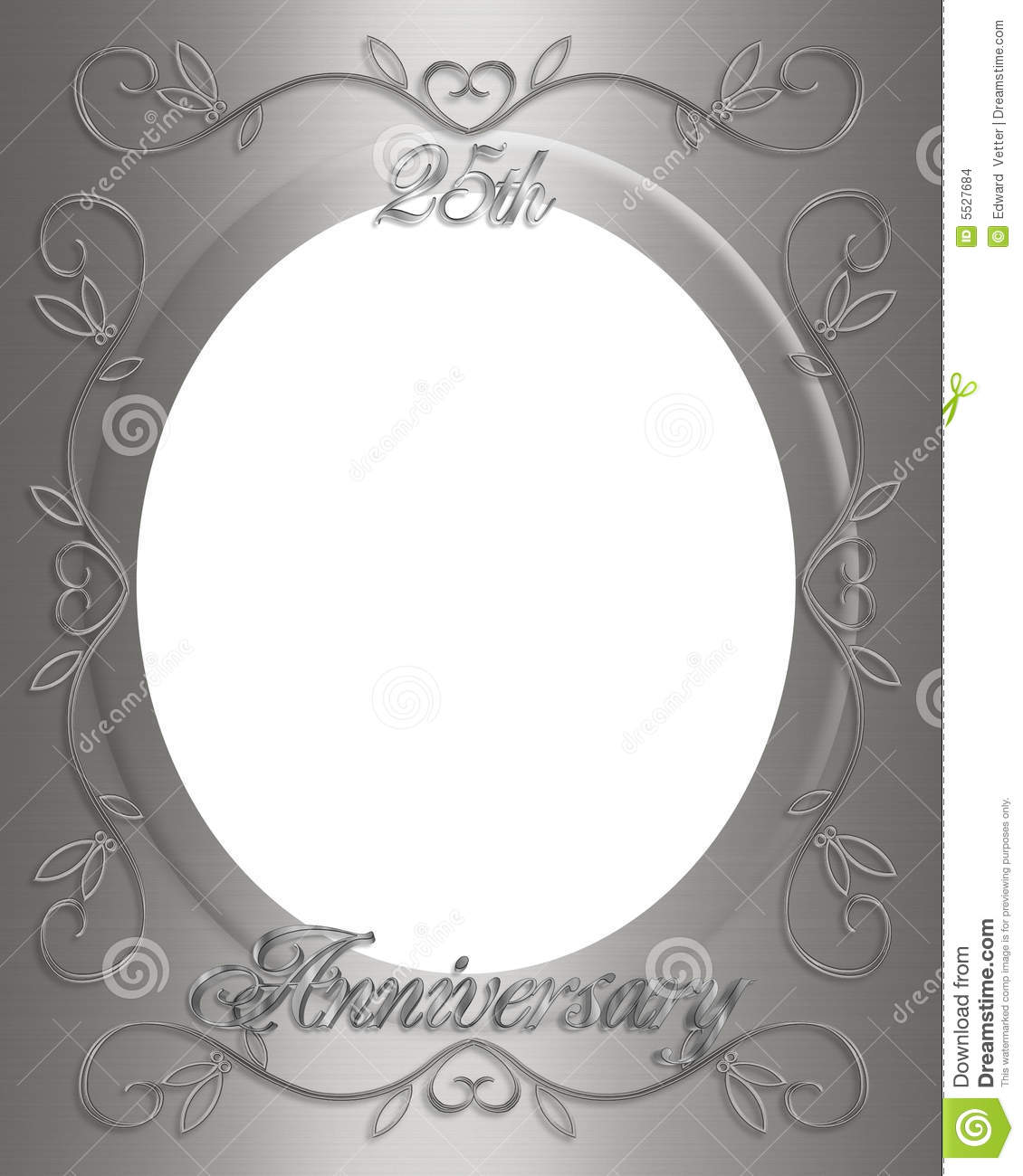 25th Wedding Anniversary Frame Stock Illustration Illustration Of