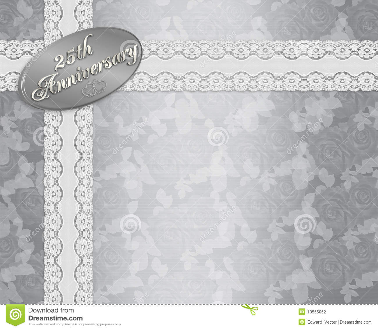 Backdrops Silver Wedding Invitations: 25th Wedding Anniversary Invitation Stock Illustration