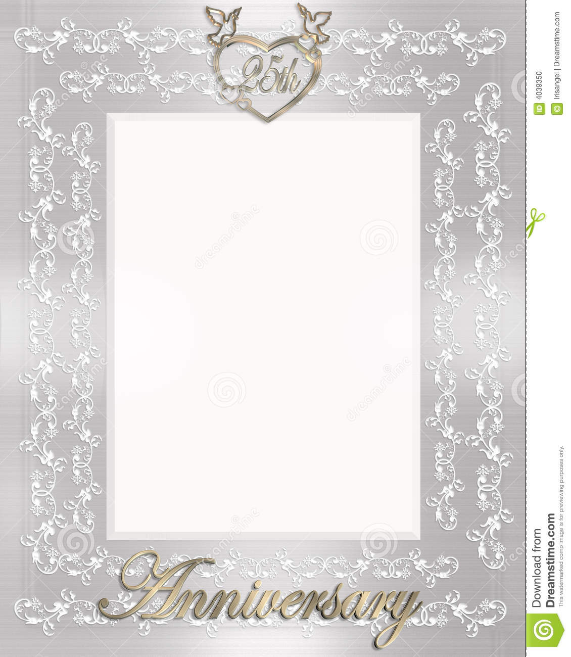 25th Wedding Anniversary Invitation Stock Illustration