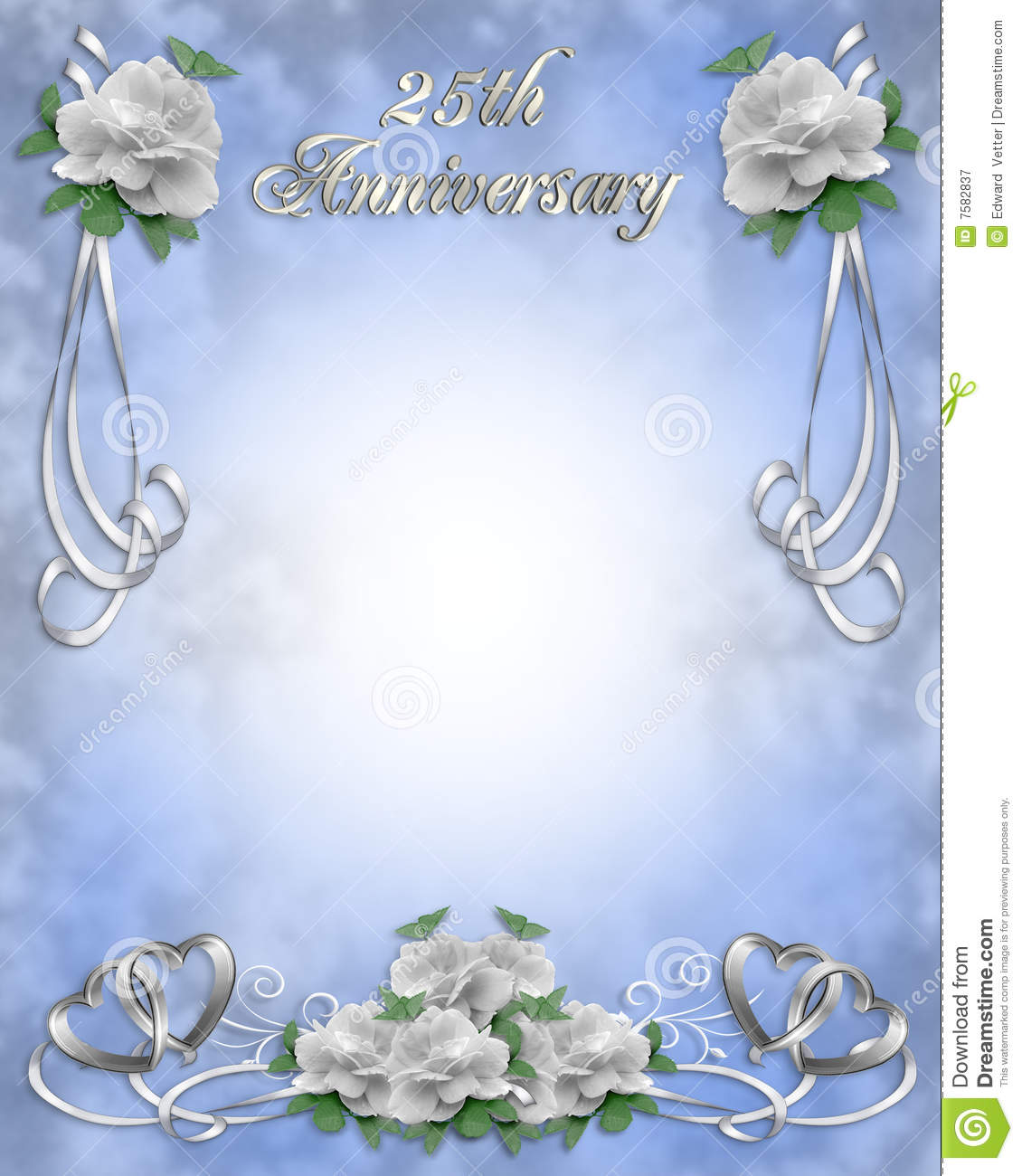 ... wedding anniversary invitation blue background, border or frame with