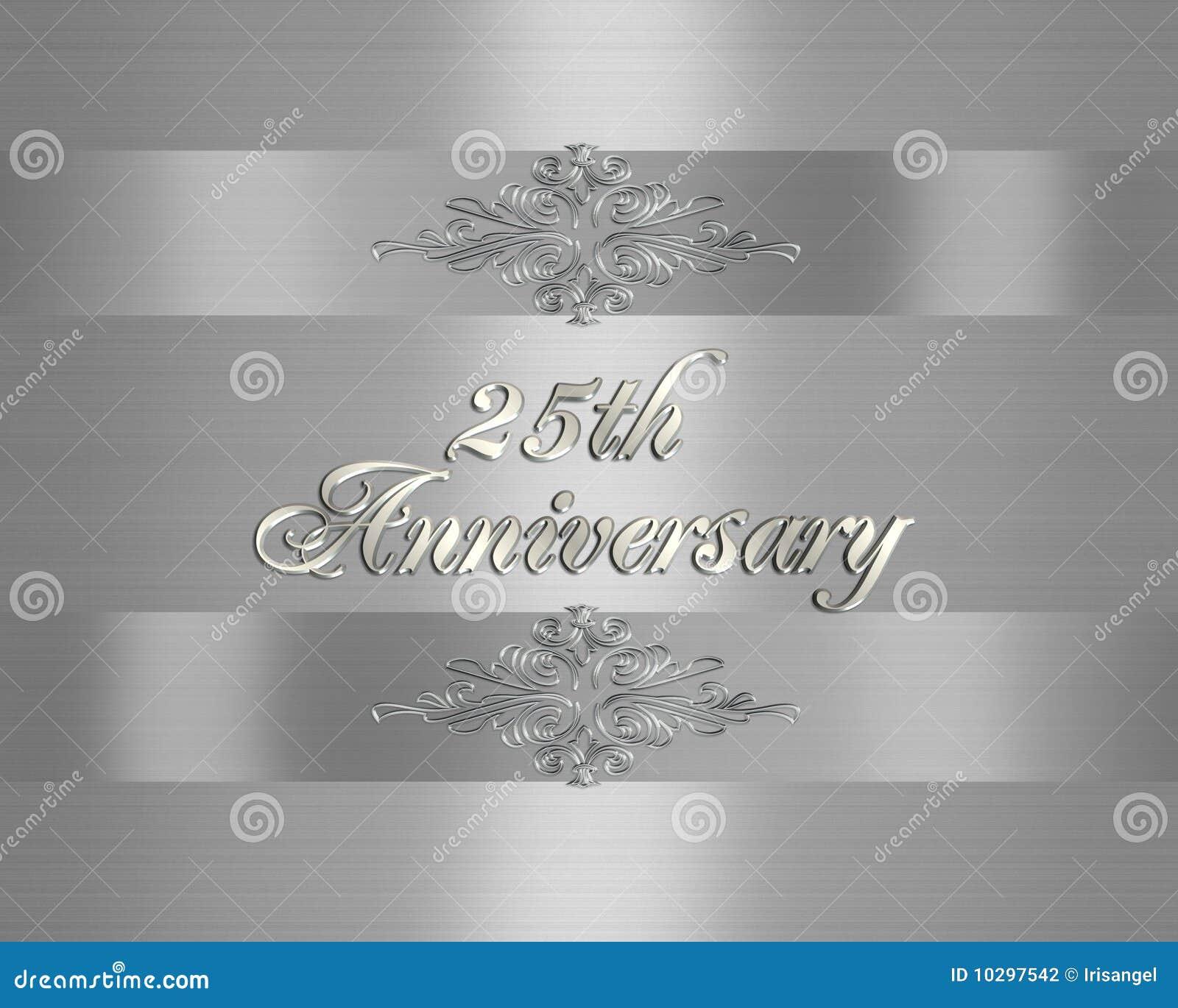 25to Plata De La Invitación Del Aniversario De Boda Stock De
