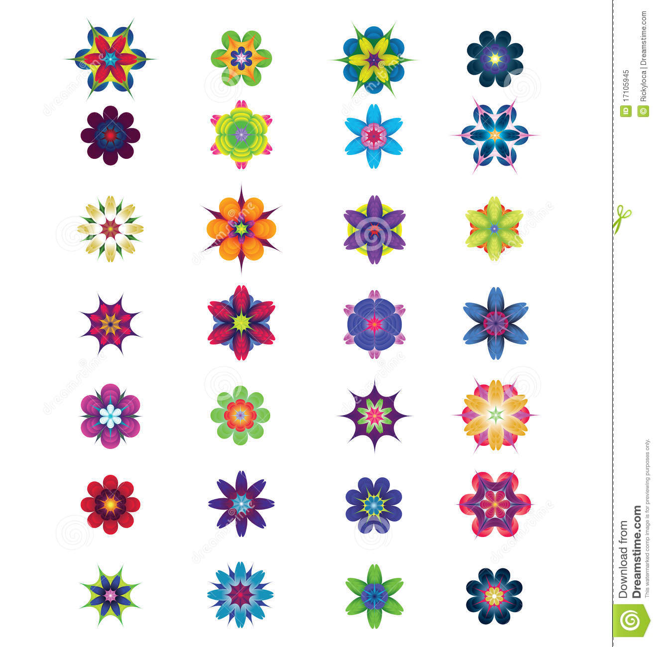 28 Different Colorful Abstract Flowers For Design Stock