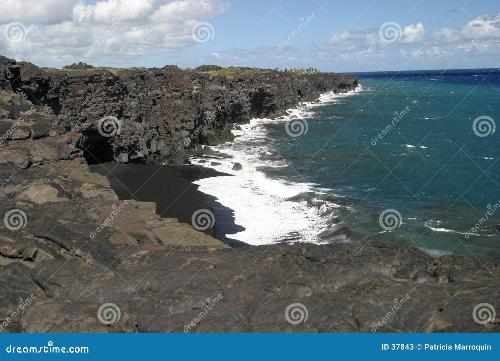 海滩黑色沙子