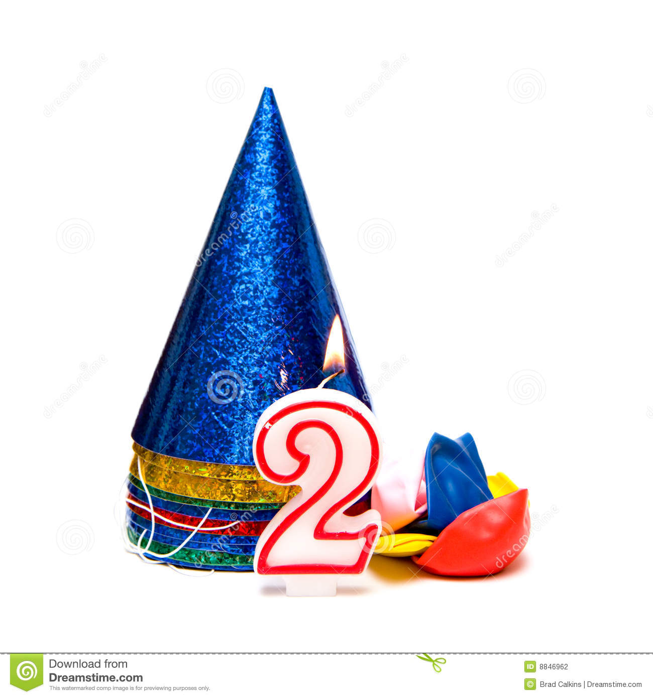 2nd Birthday Image With Number Two Candle Party Hats And Balloons On White Background