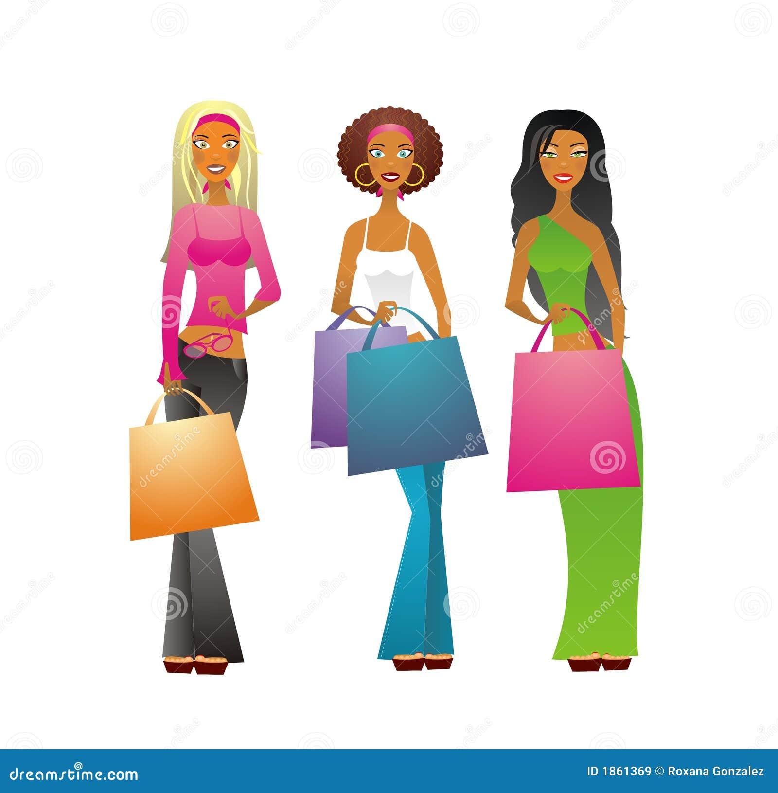 3个女孩购物