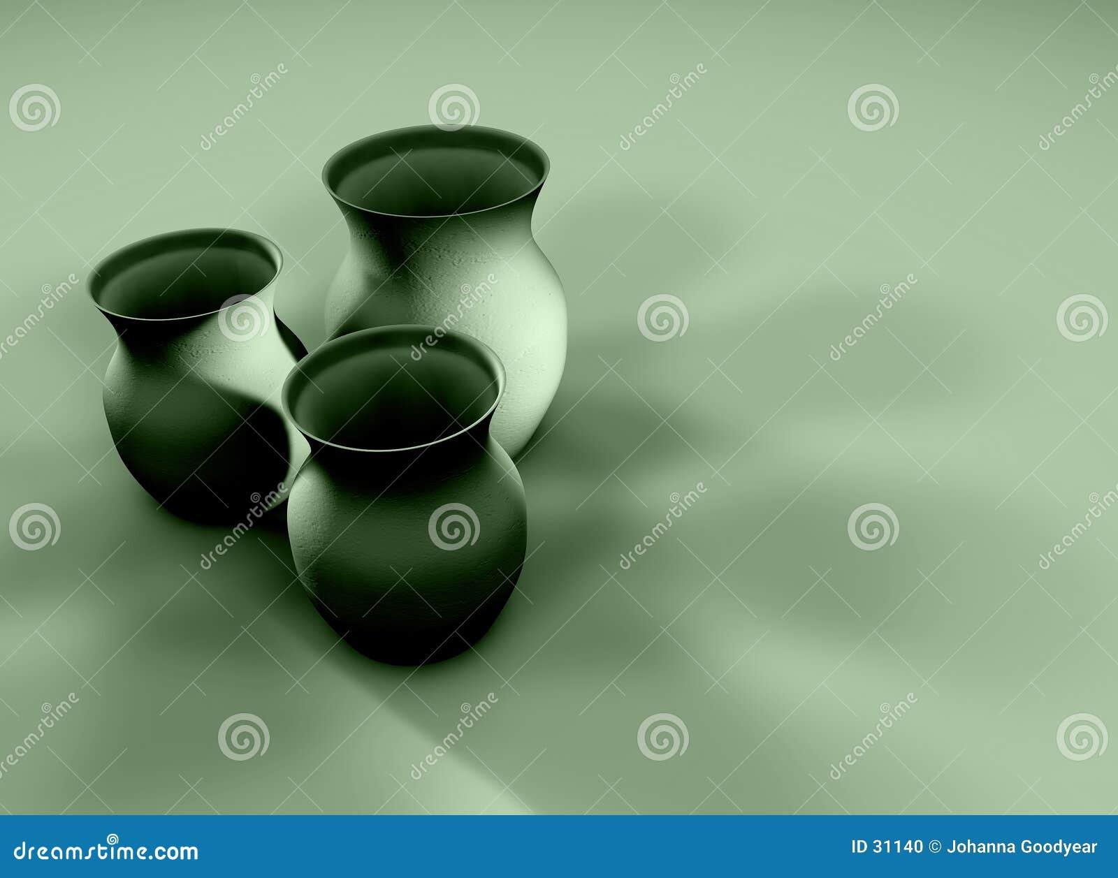 3个黏土水罐