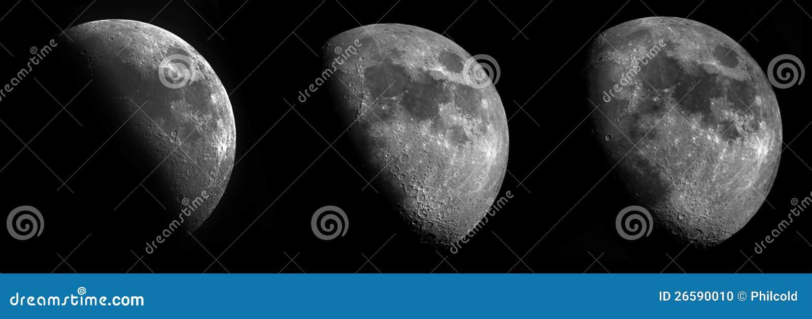 3 участка серповидной луны