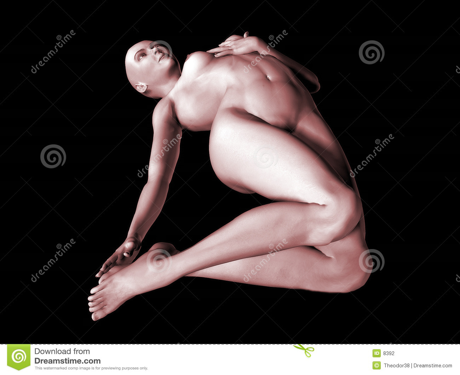 3 3d裸体妇女