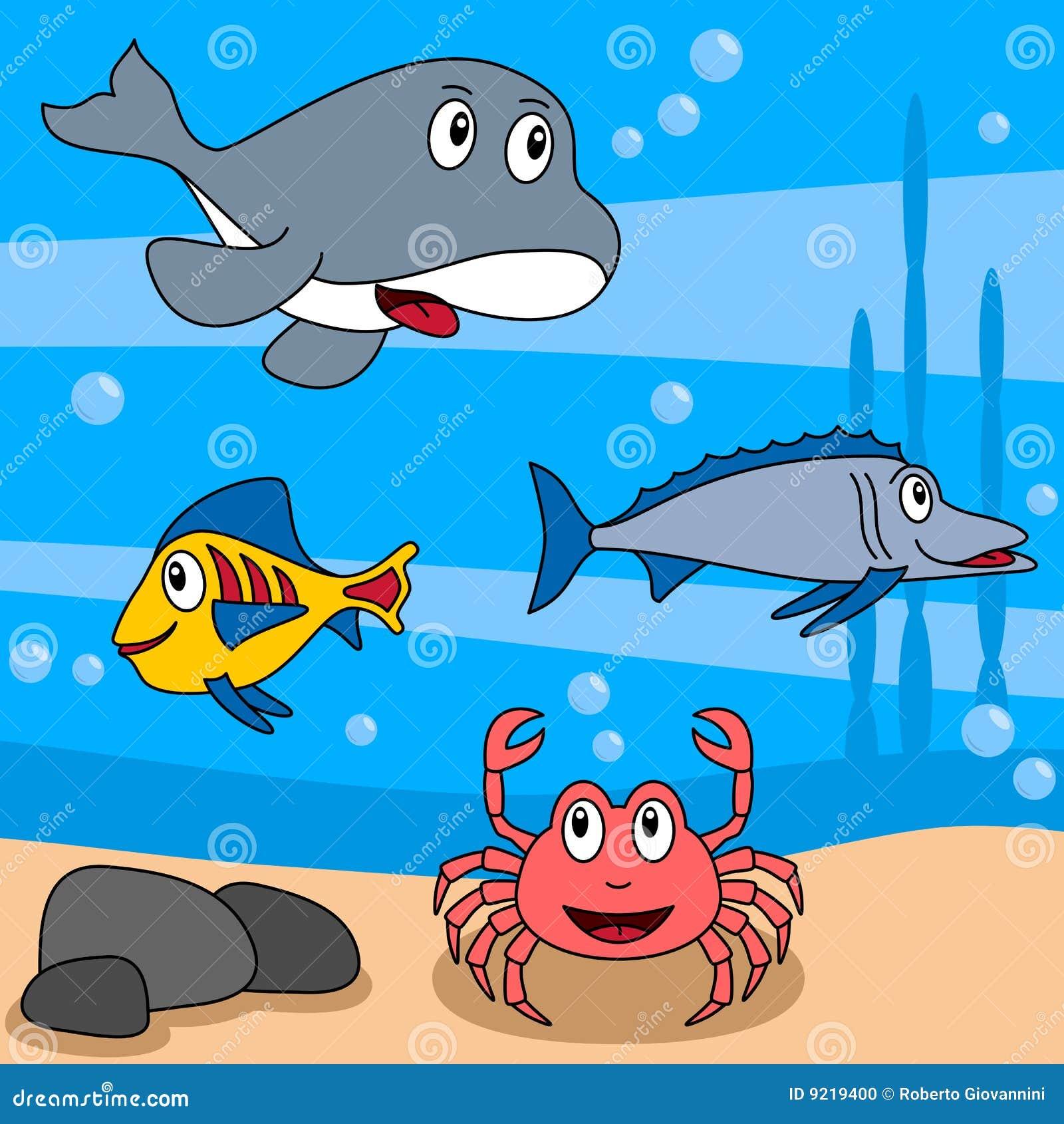 片螃蟹eps文件完全钓鱼四个水下滑稽的例证生活海洋海怪场面的第三二.图片