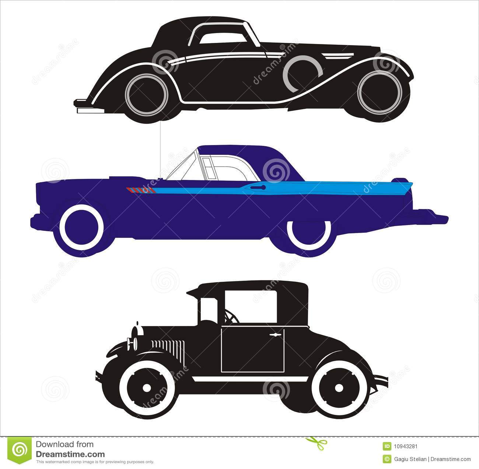 3 alte autos vektor abbildung bild von karikatur auslegung 10943281. Black Bedroom Furniture Sets. Home Design Ideas