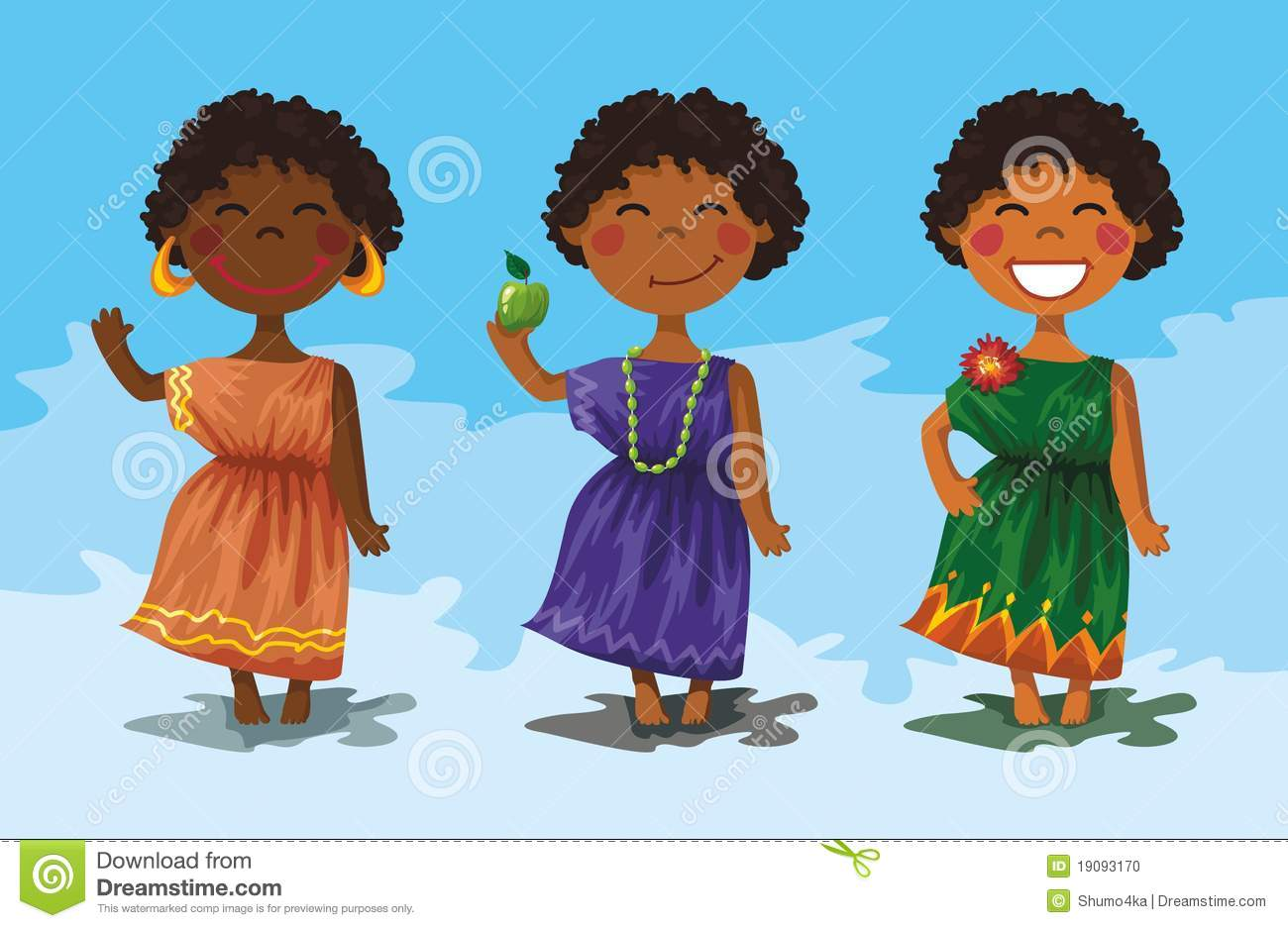 3 Cartoon Character Images : Cartoon characters cute african girls stock photo