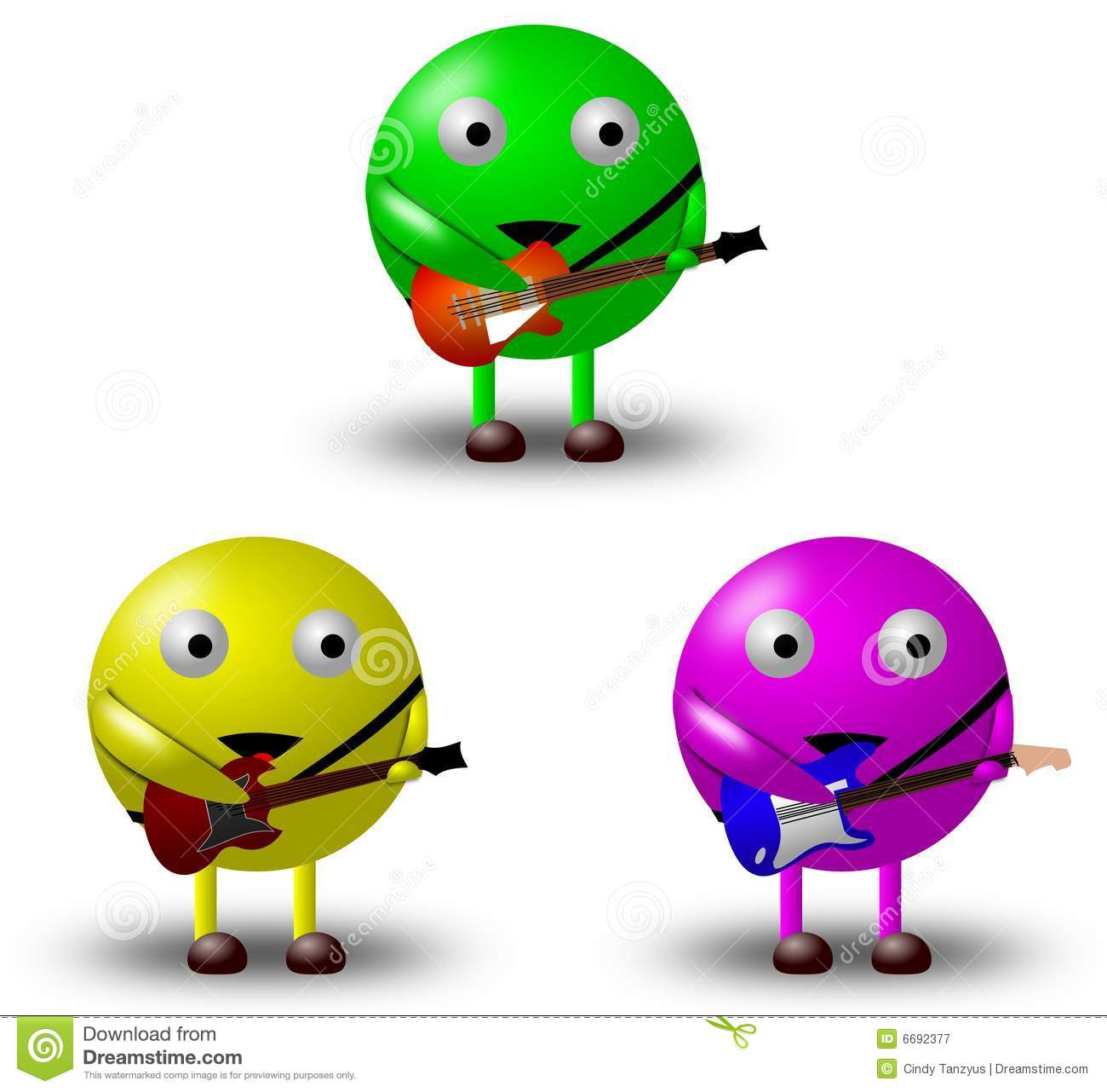 3 Cartoon Character Images : Cartoon characters with guitars royalty free stock