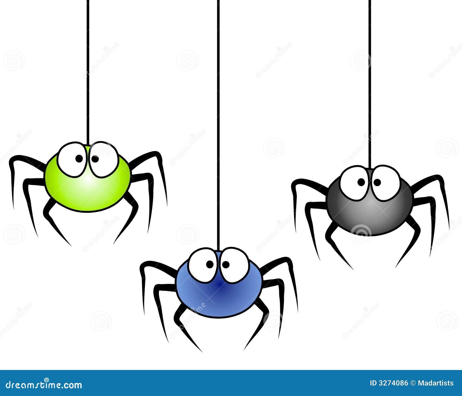 3 cartoon spiders hanging stock illustration illustration of rh dreamstime com cute cartoon spider clipart Halloween Clip Art