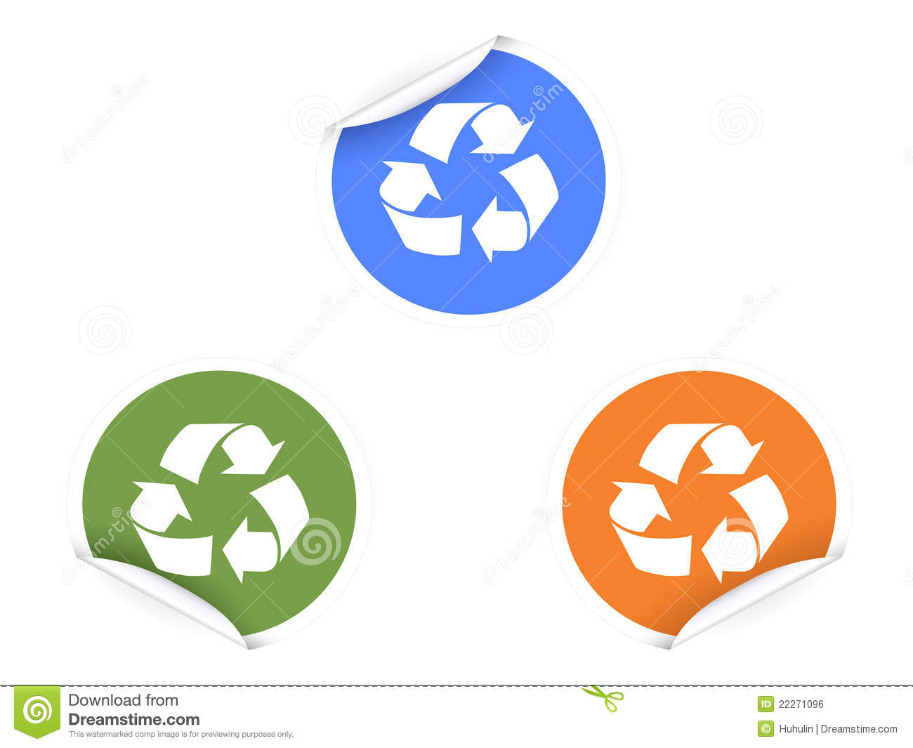 Download 3 Color Recycling Stickers Stock Vector Illustration Of Adhesive