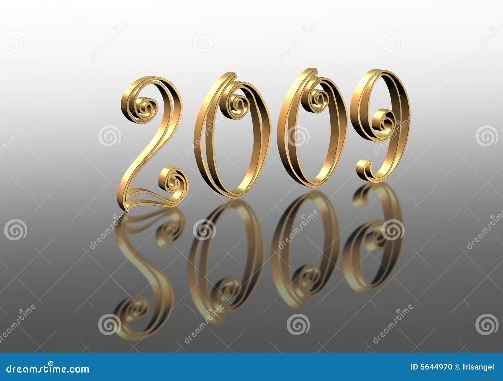 3 d 2009 graficzny nowego odzwierciedlenie lat