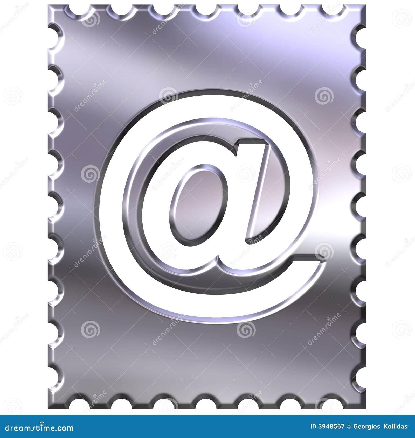 3 d e - mail być obramowane srebrny symbol