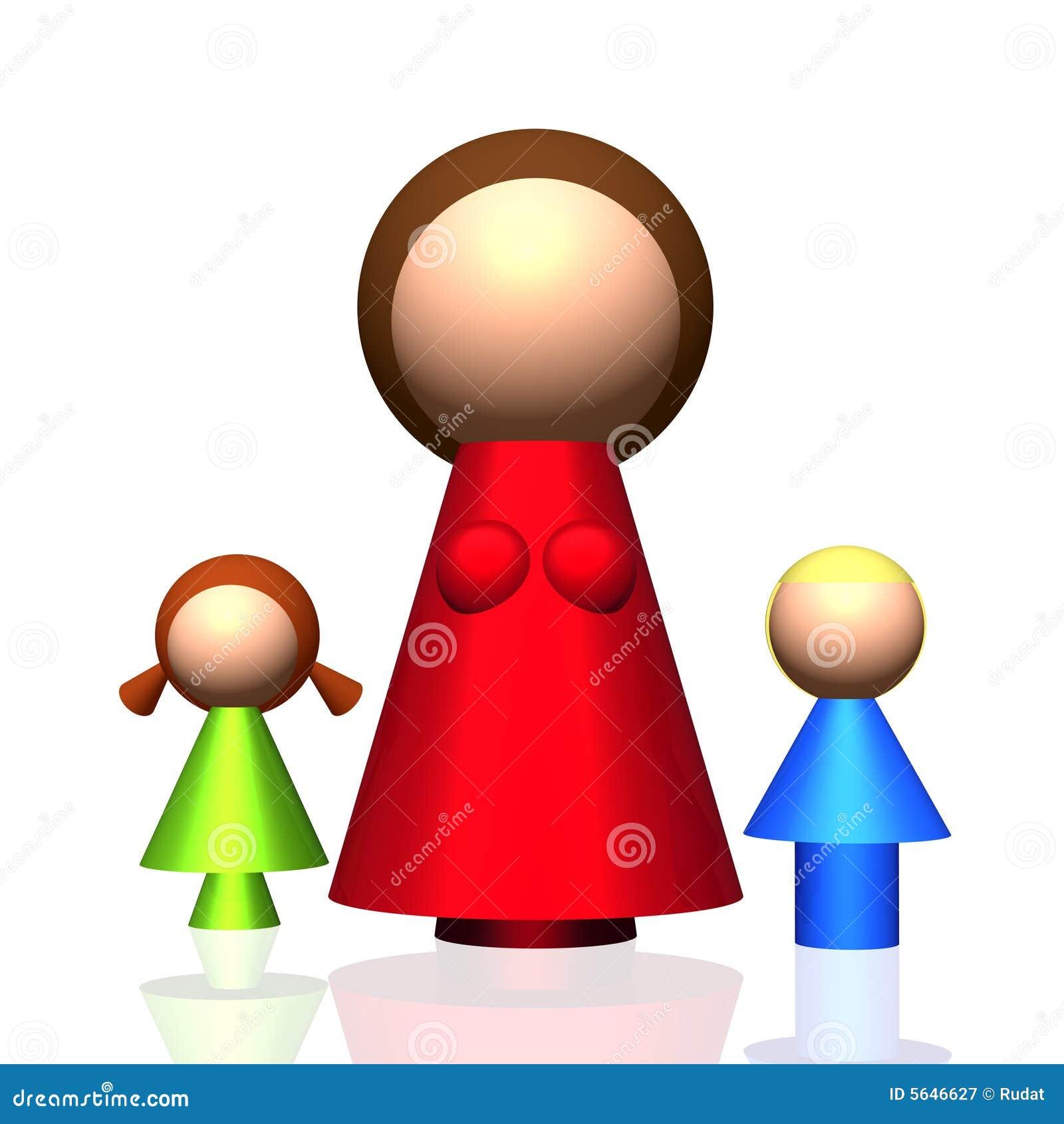 3 d ikony rodziny jednego rodzica