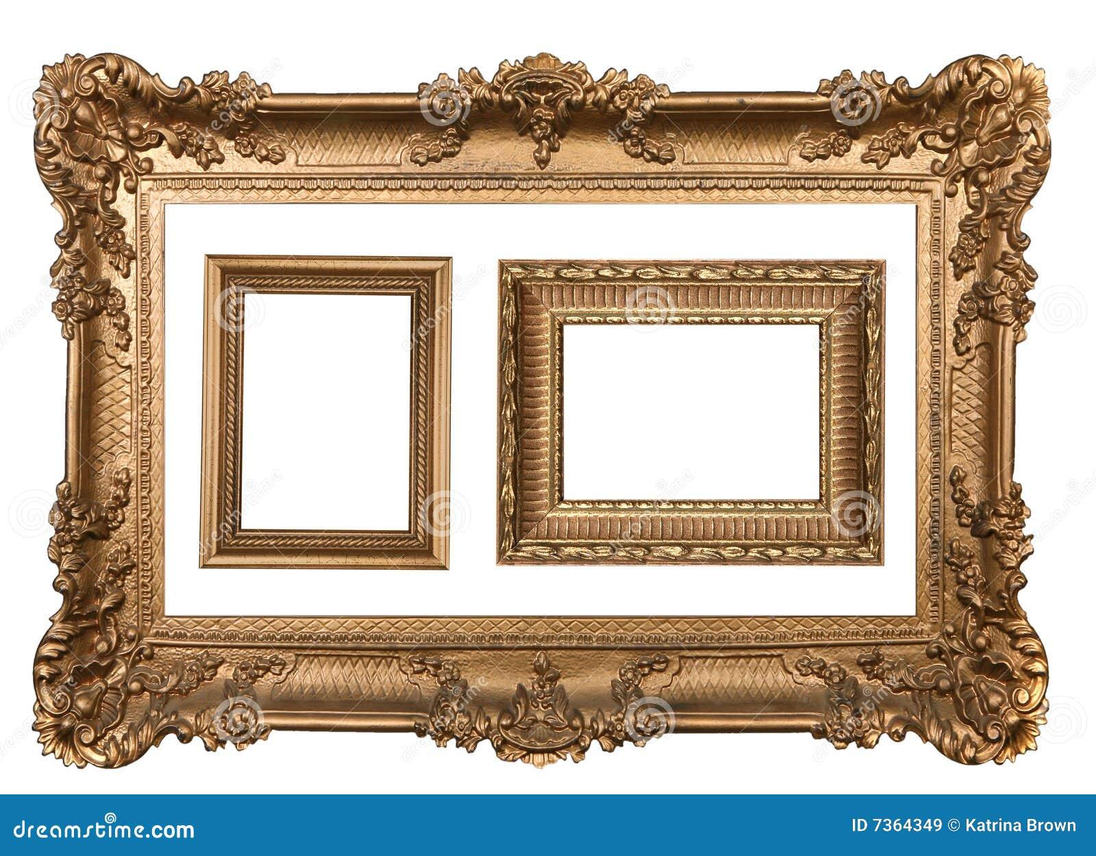 3 Dekoratives Goldleere Wand-Bilderrahmen Stockbild - Bild von innen ...