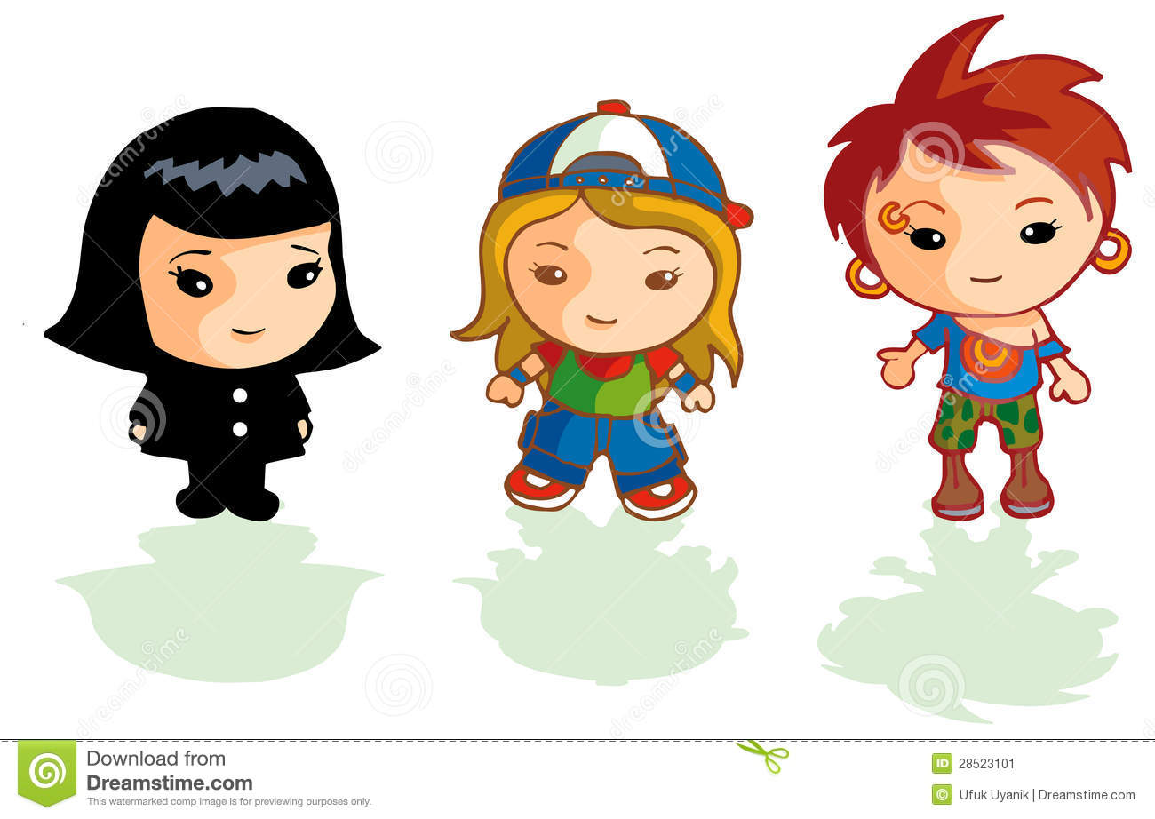 3 Cartoon Character Images : Different cartoon girls stock illustration image of