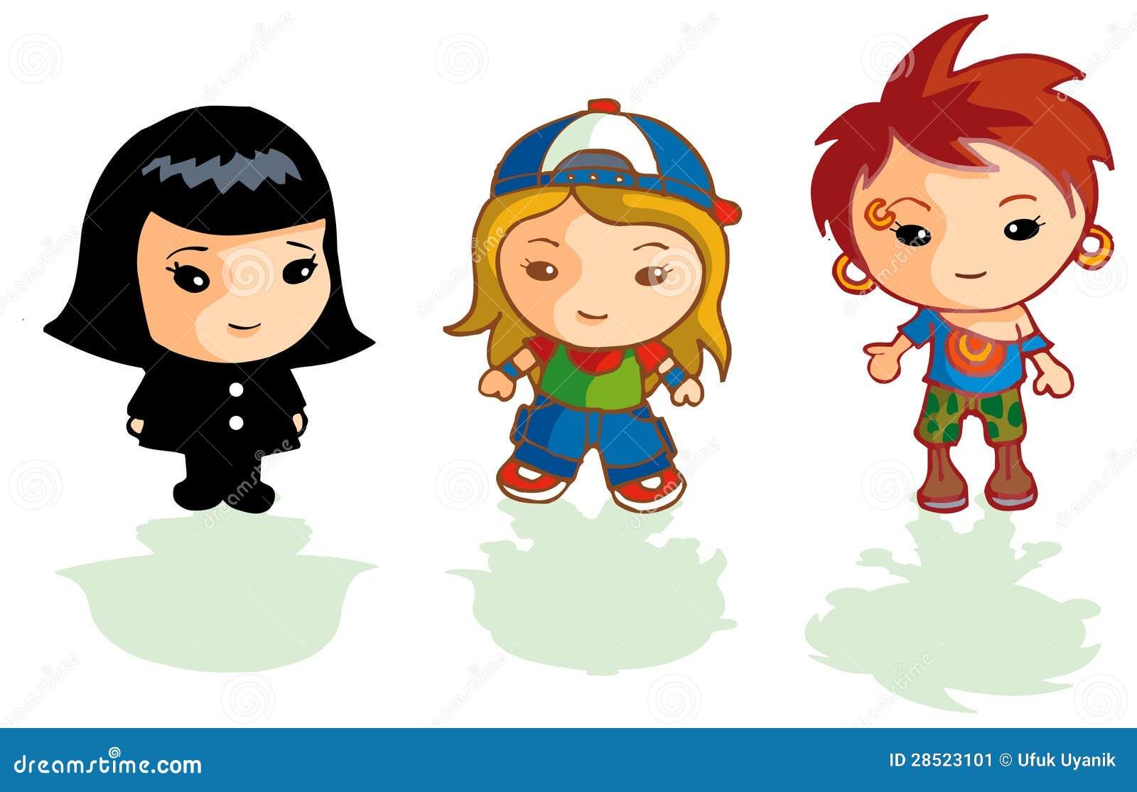 3 Girl Cartoon Characters : Different cartoon girls stock image