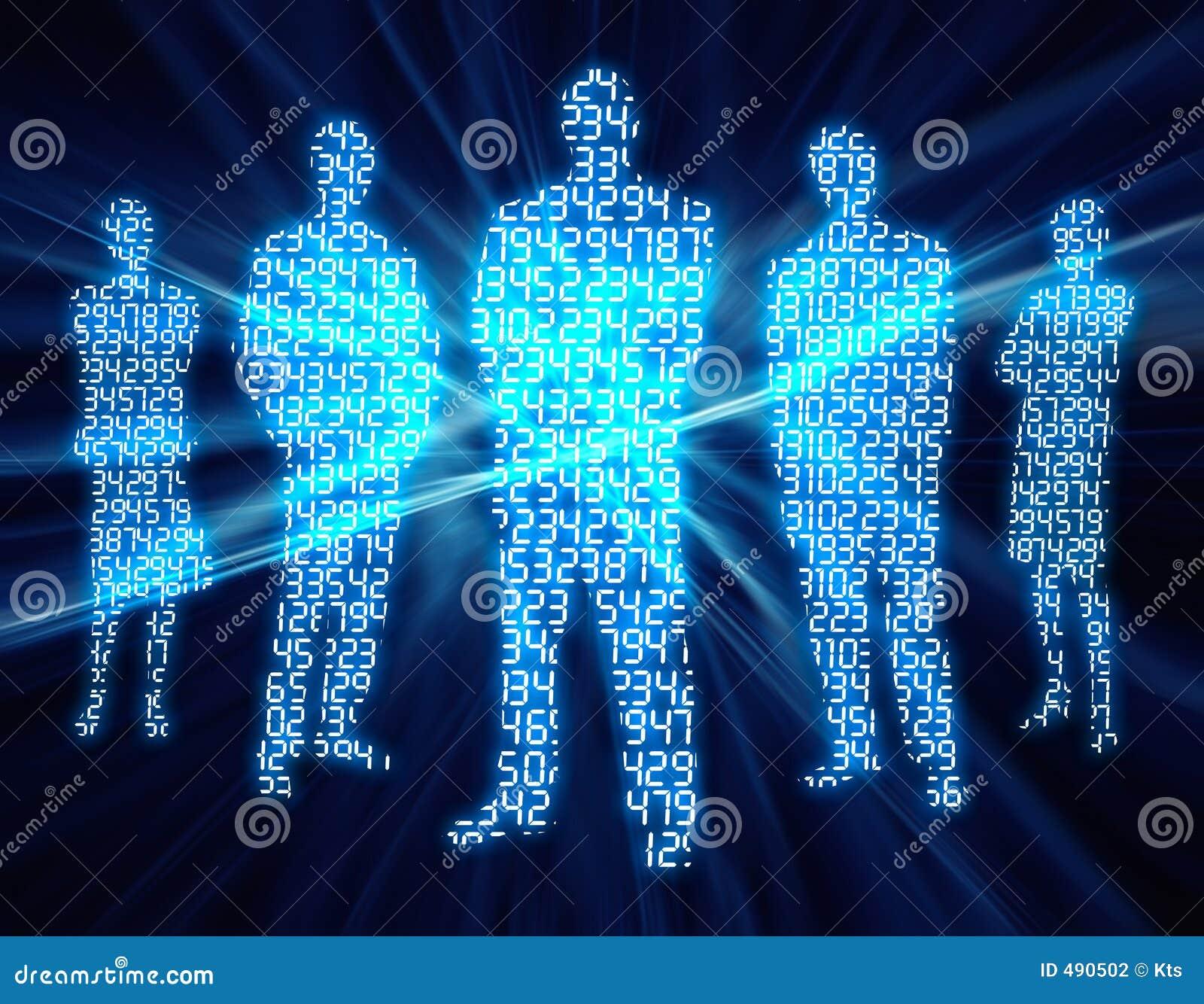 3 folk för binär siffra