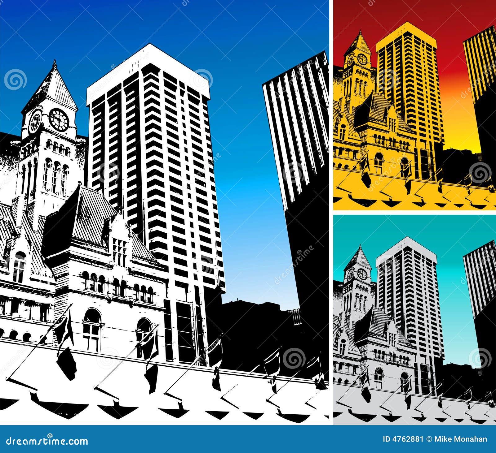 3 Fondos De La Ciudad En Cambio Ilustración del Vector - Ilustración ...