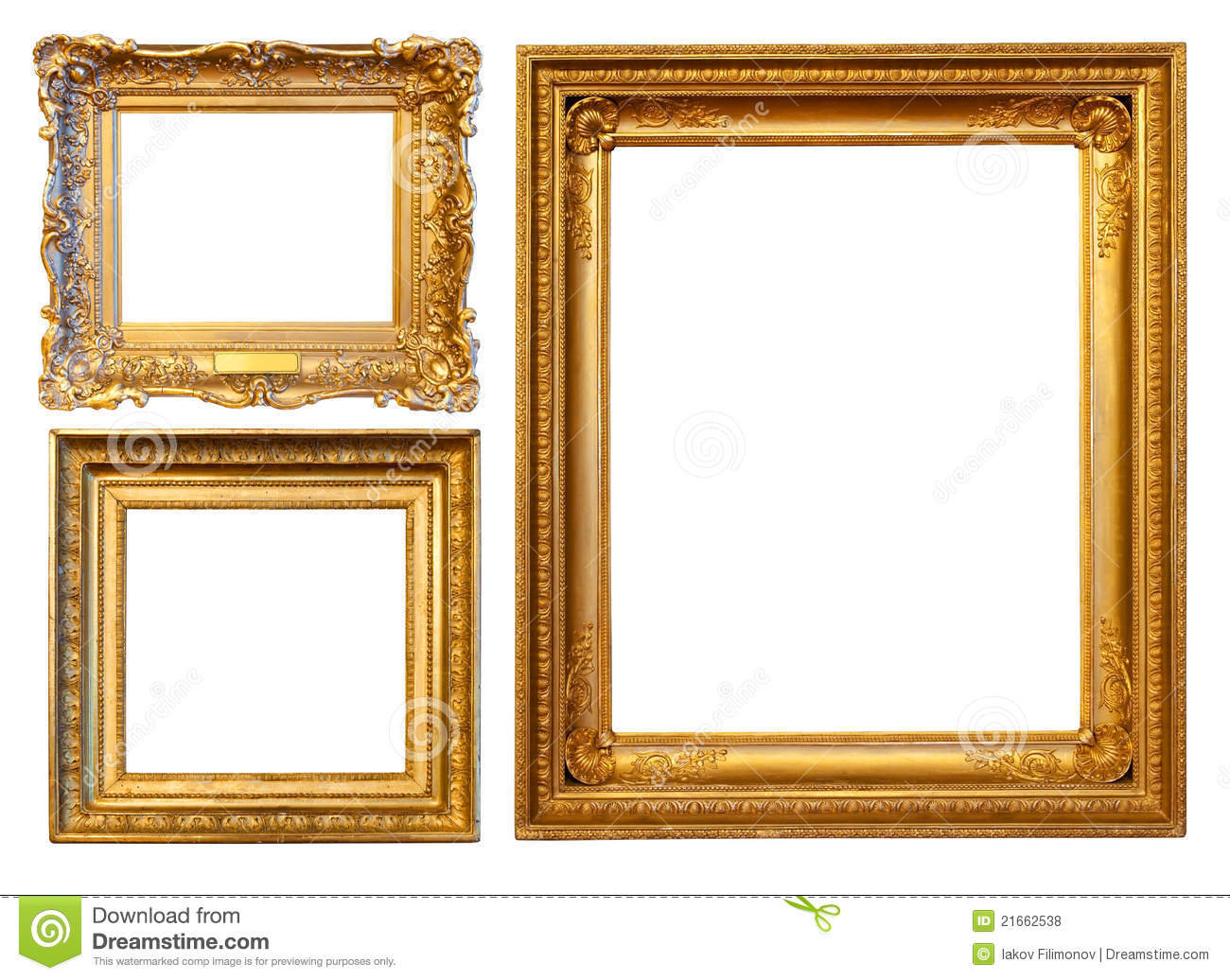 3 gold frames stock photo image of background gilded 21662538. Black Bedroom Furniture Sets. Home Design Ideas
