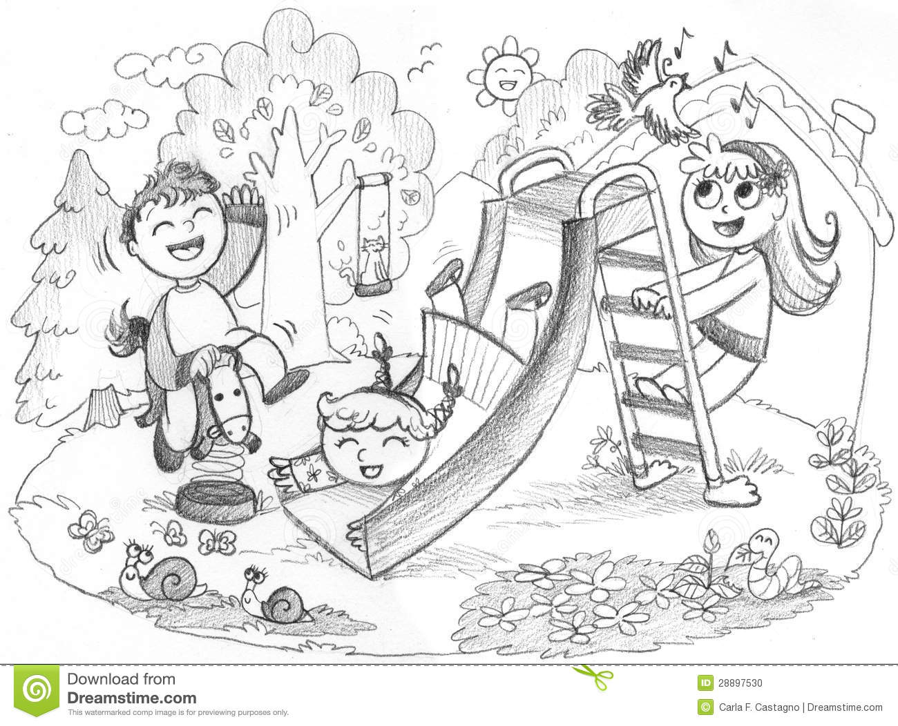 ... happy children playing together. Grey pencil hand drawn illustration