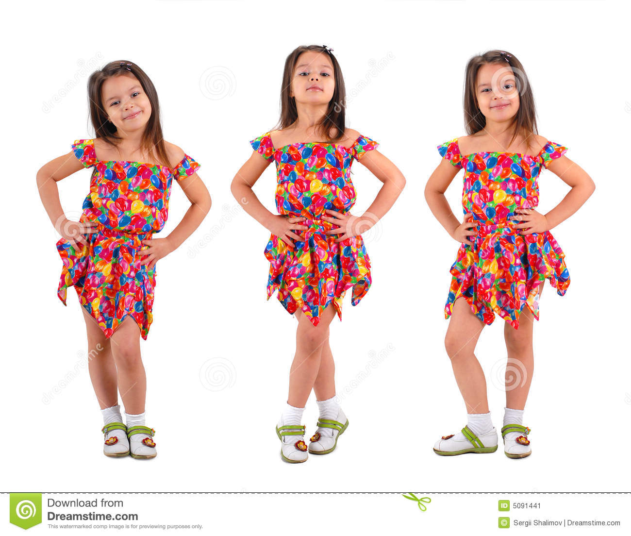 aaa498f2bc0a 3 Little Girl In Short Dress Stock Image - Image of cute