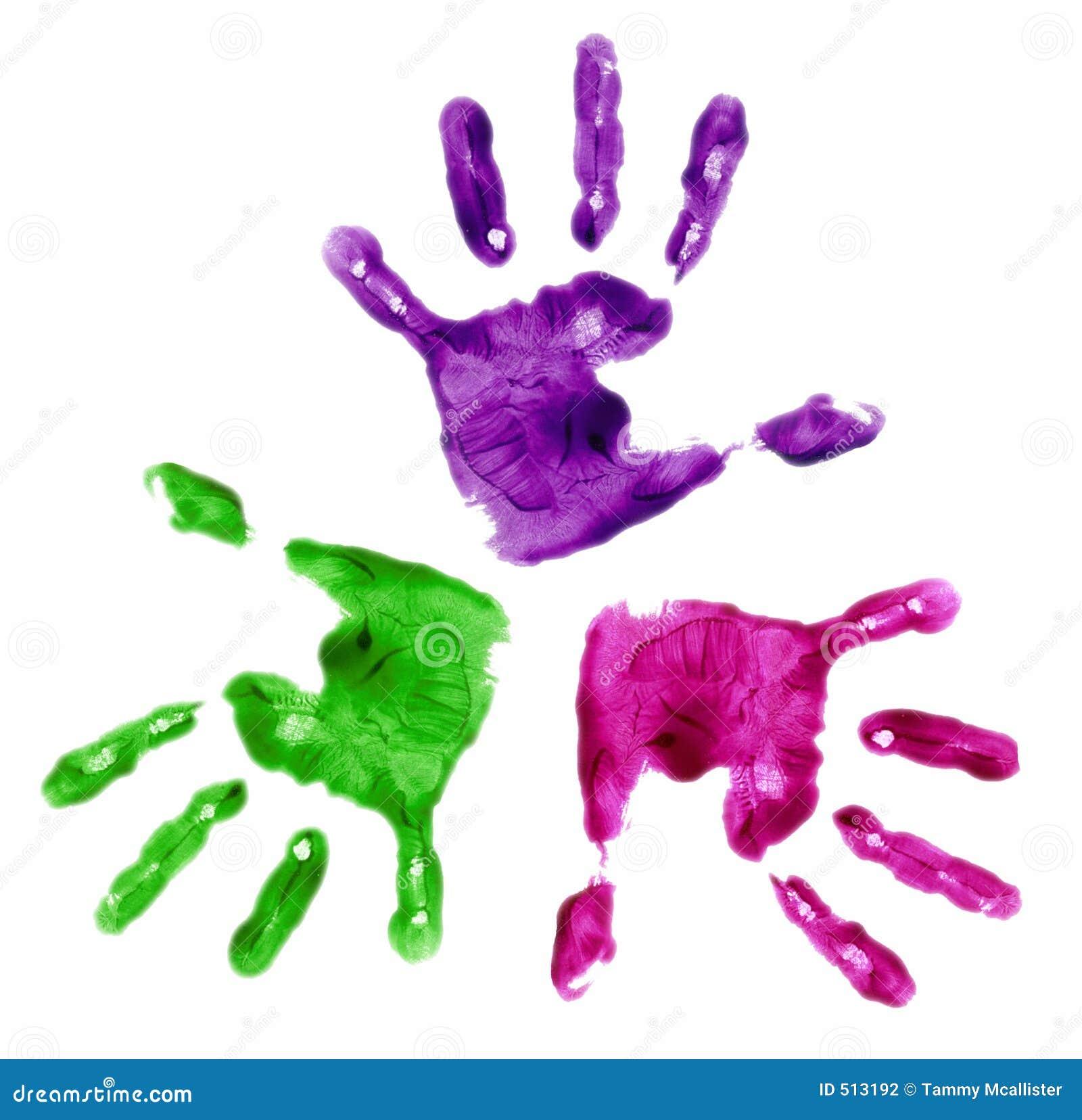 3 mains peintes par doigt