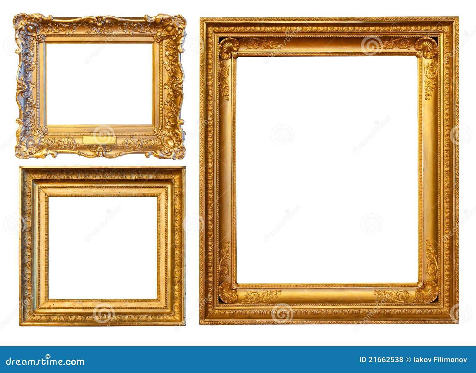3 marcos del oro foto de archivo. Imagen de ilustraciones - 21662538