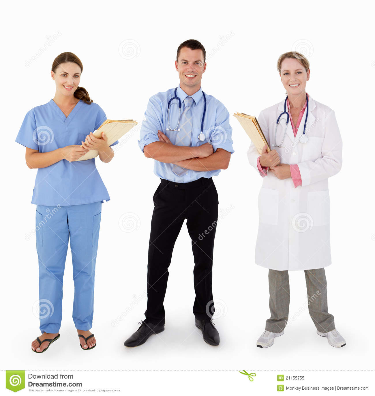 3 Medical Staff Portrait In Studio Royalty Free Stock