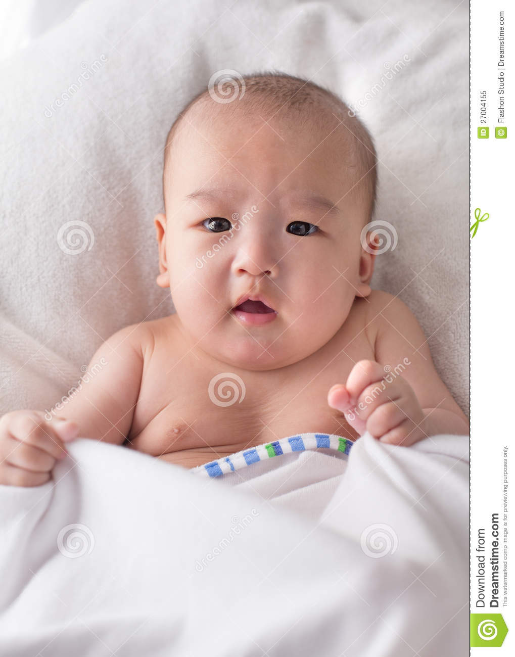Month old asian baby boy after bath royalty free stock photo image