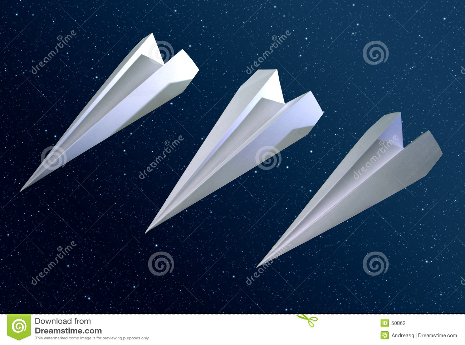 3 origamiraketten in ruimte