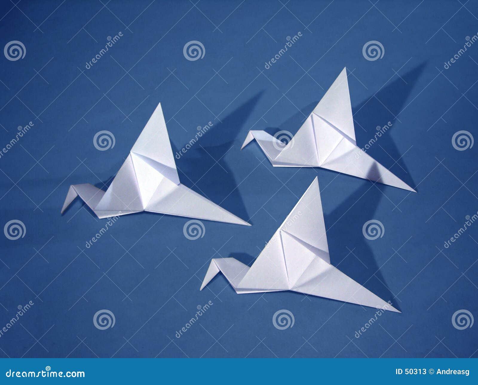 3 pássaros de papel