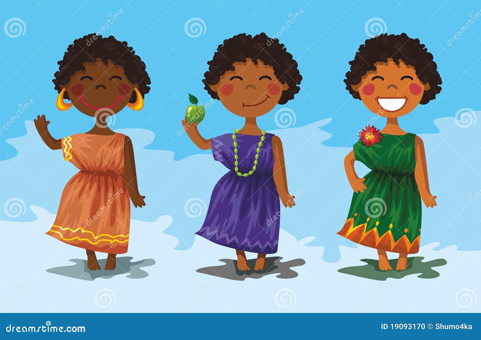 personajes de dibujos animados - muchachas africanas lindas. muchachas