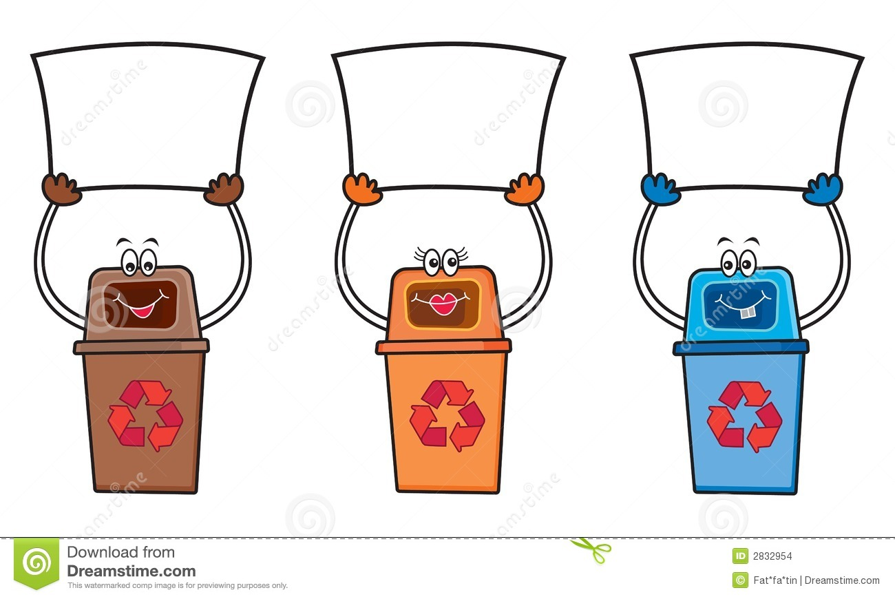 3 Recycle Bins With Blank Sign Stock Vector Image 2832954