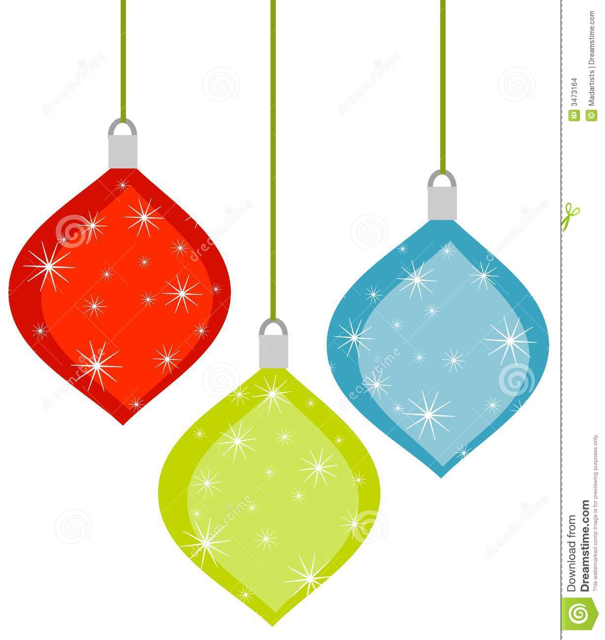 3 Retro Christmas Ornaments Stock Illustration Illustration Of