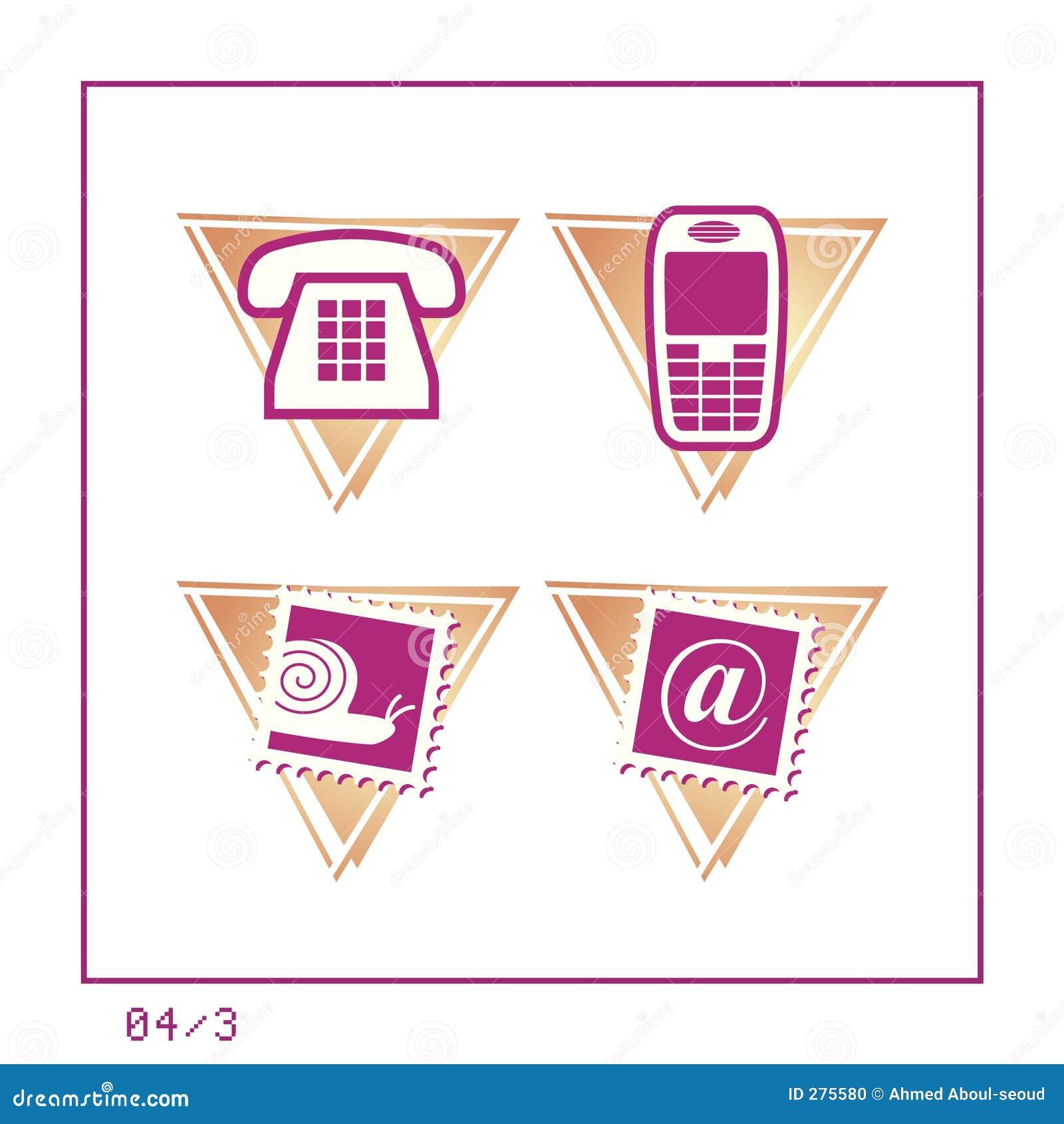 3 version för symbol för 04 kommunikation set