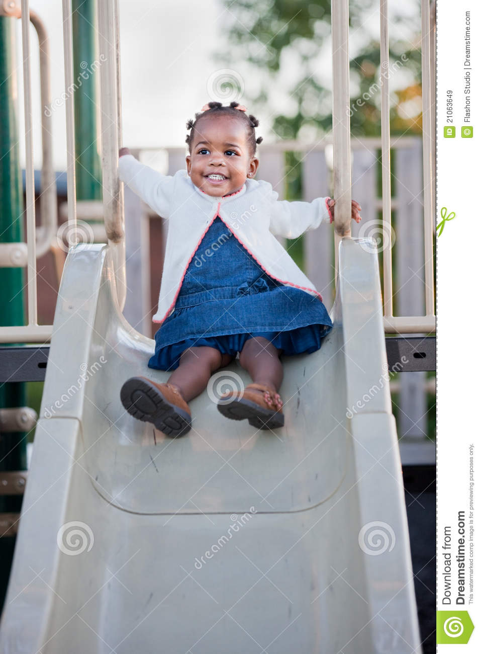 3 Year Old African American Girl Playing Stock Image