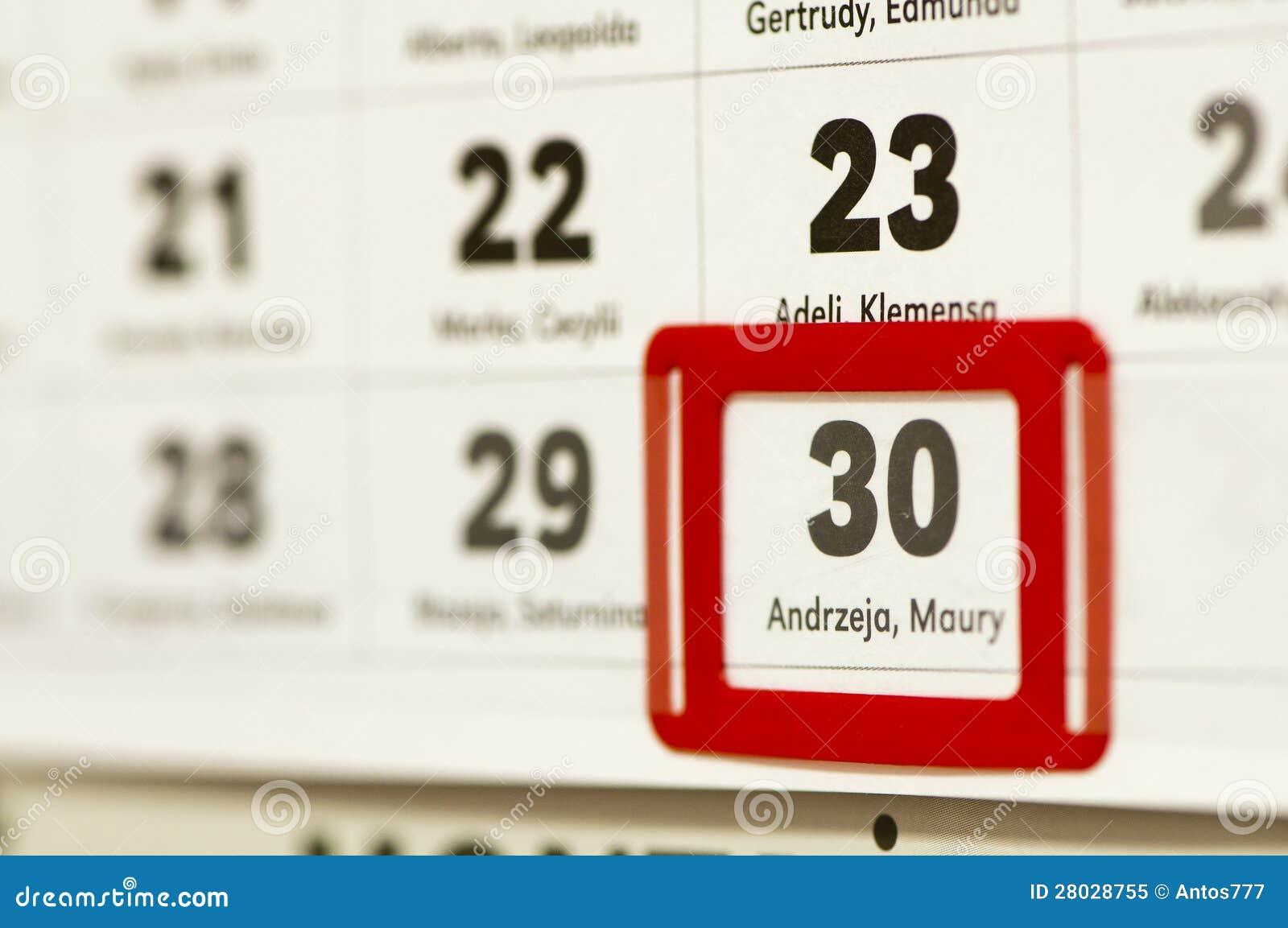 30 de dezembro marcado no calendário