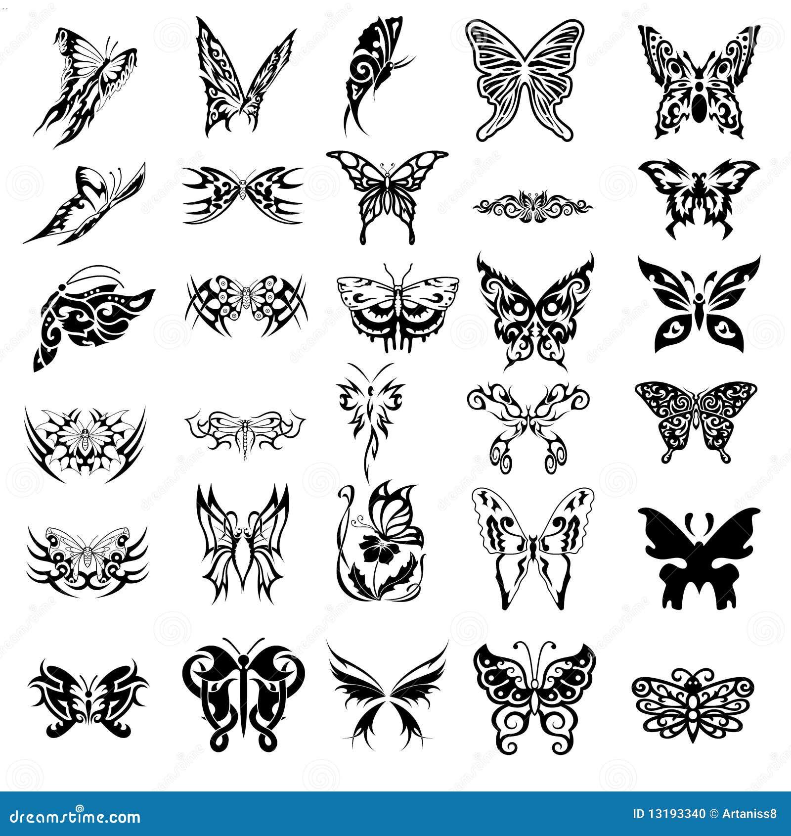 30 de symbolen van de vlinder voor tatoegeringen