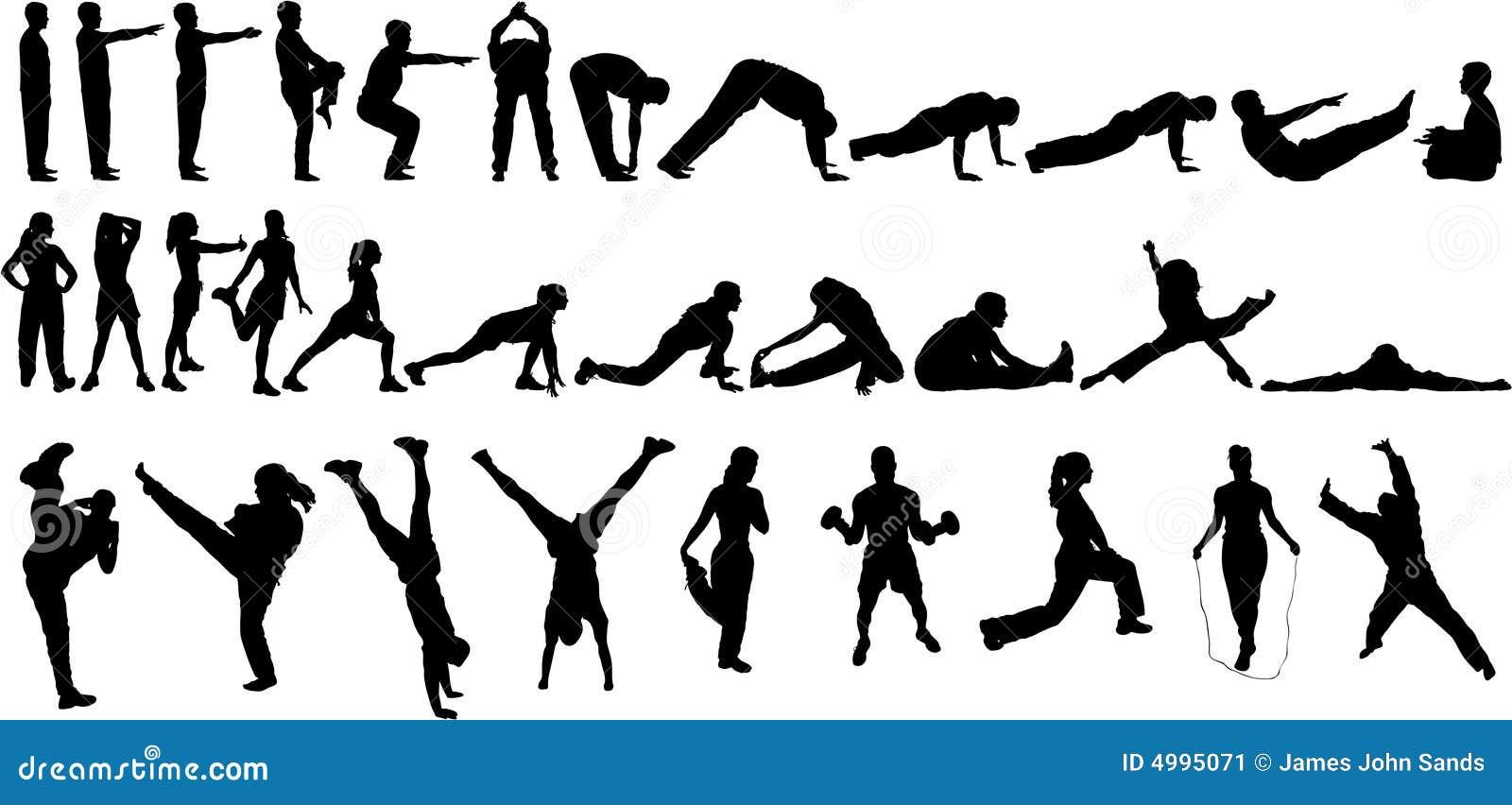32 övningssilhouettes