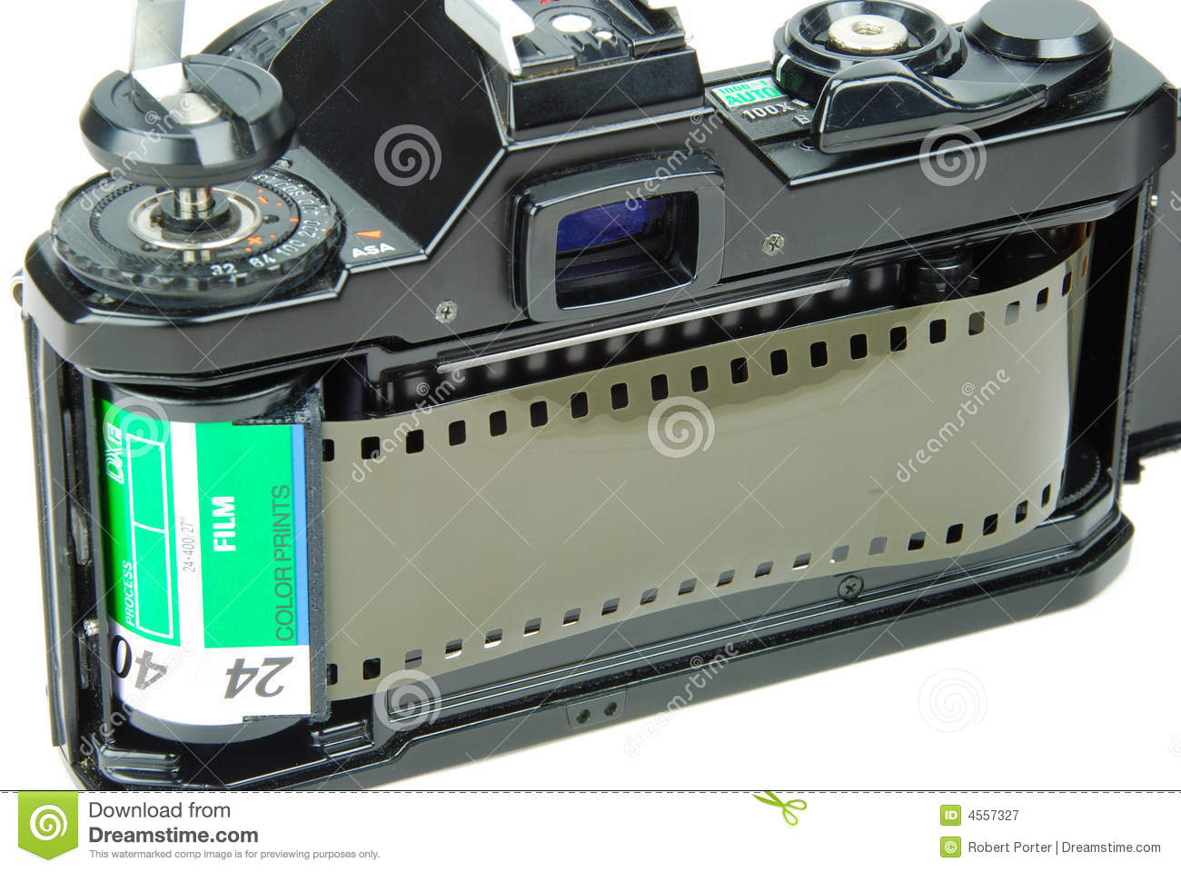 35mm SLR Camera with Film stock image  Image of aperture