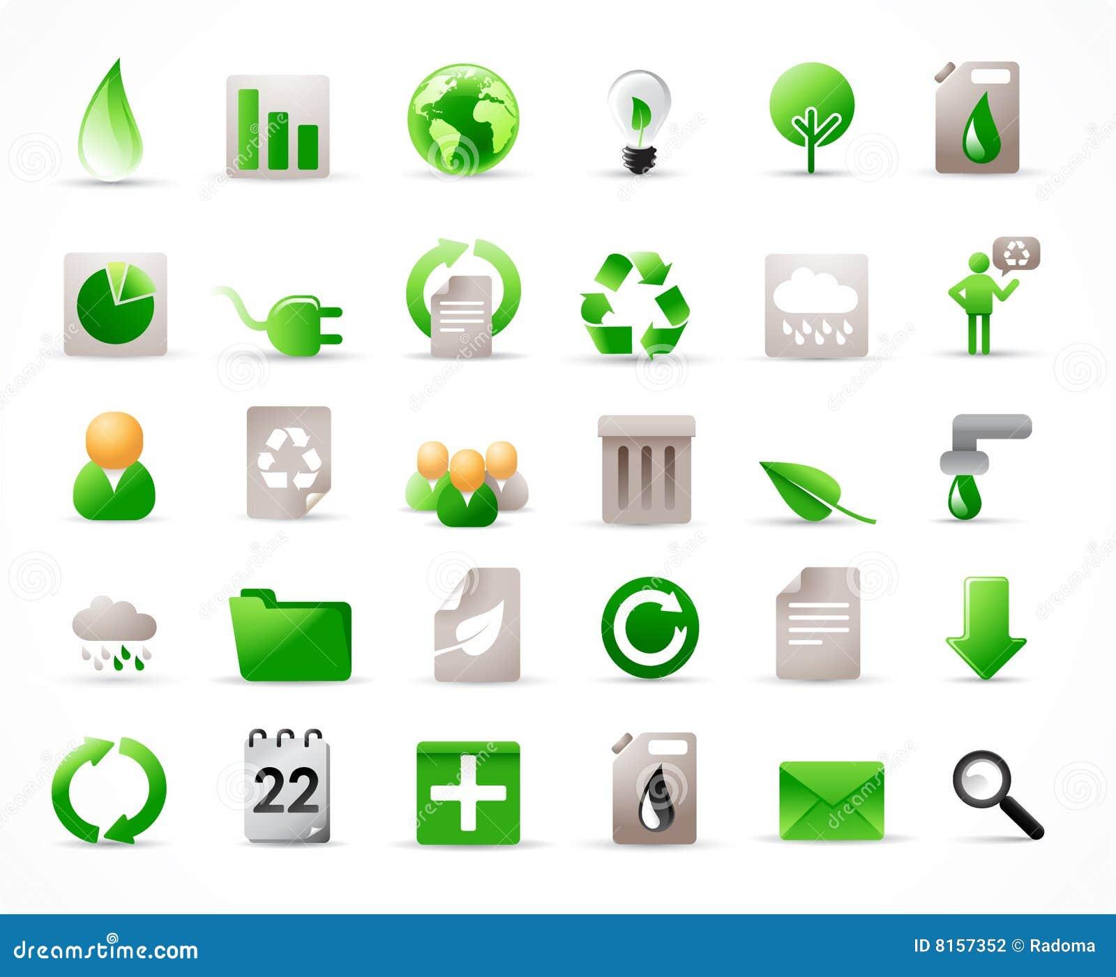 36 iconos de la ecología fijados