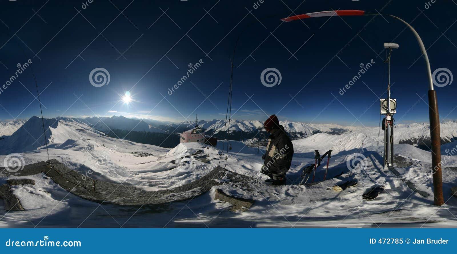 360 Degree Alpine Spherical Panorama Stock Image