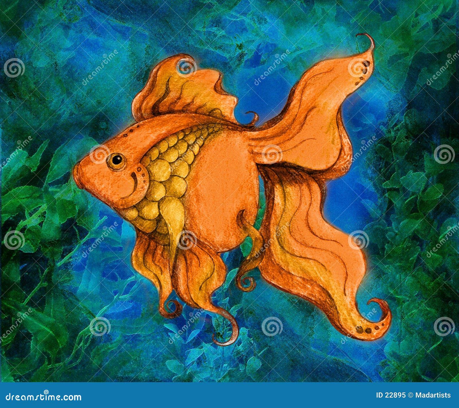 金鱼例证游泳