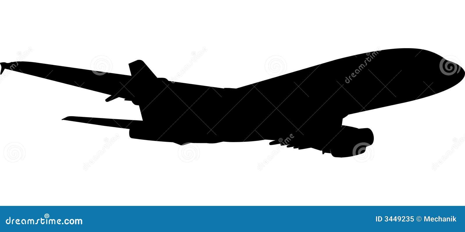 380架喷气式飞机剪影 免版税库存照片