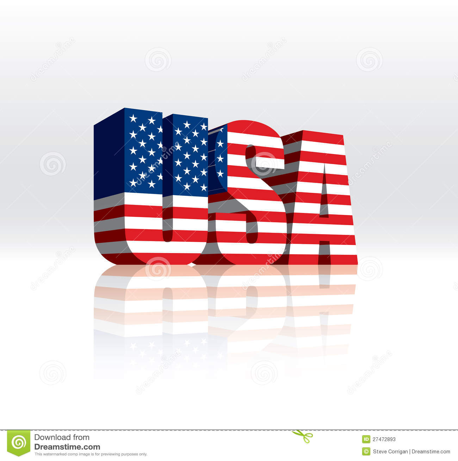 3d美国美国向量字文本标志